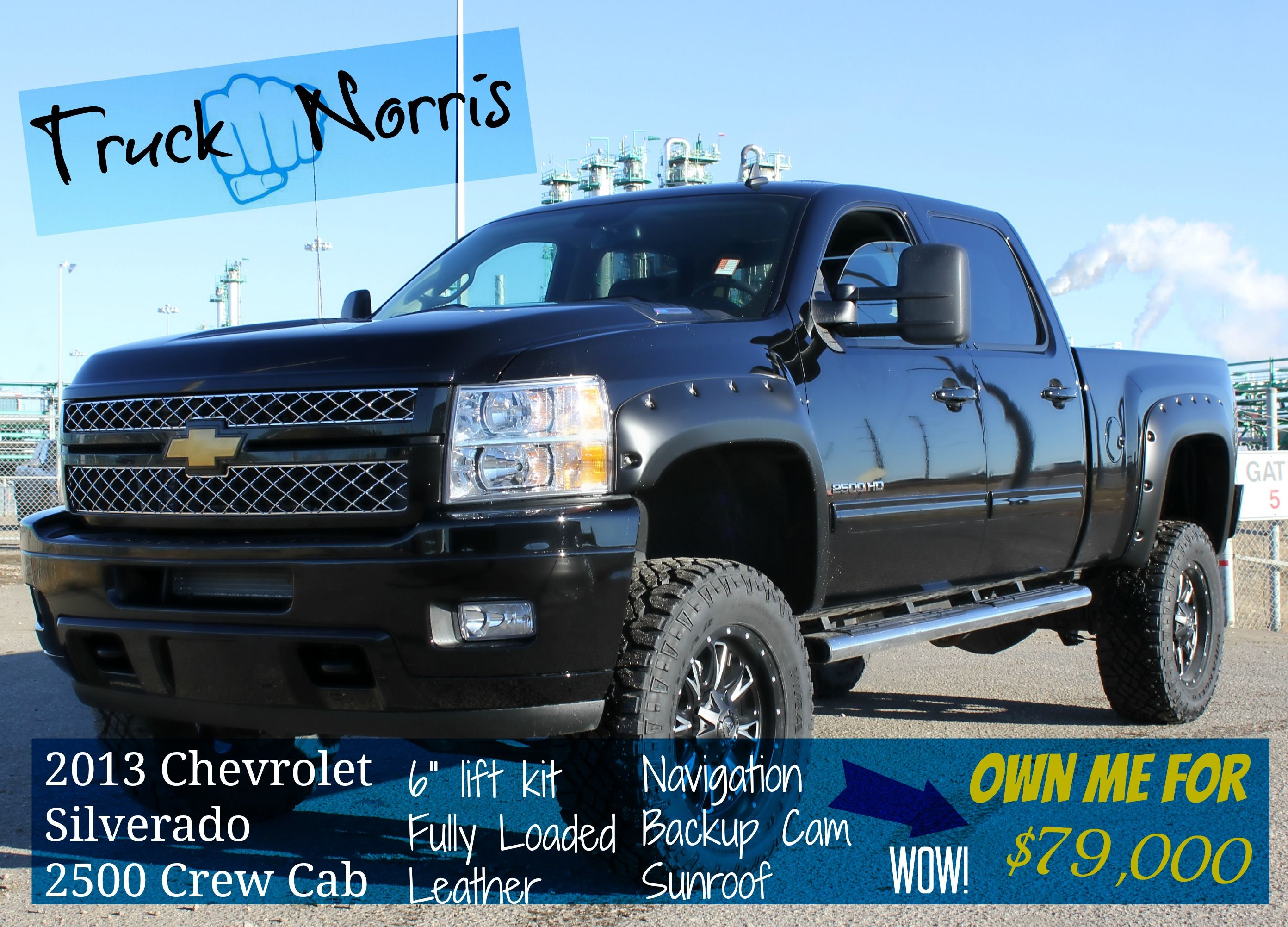 Truck norris chuck norris pun sick lookin chevy silverado with a 6 inch