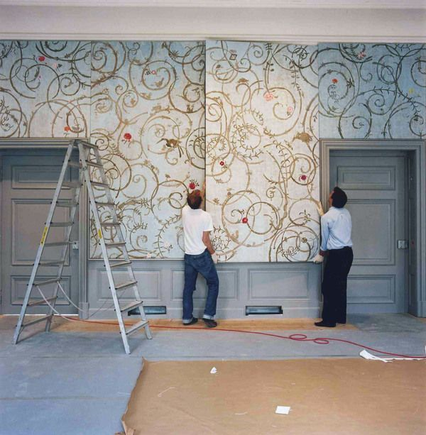 Love the loose, hand painted/free-form of these! Hand Painted Wall Panels /  Castle Benrath Duesseldorf by Wouter Dolk, via