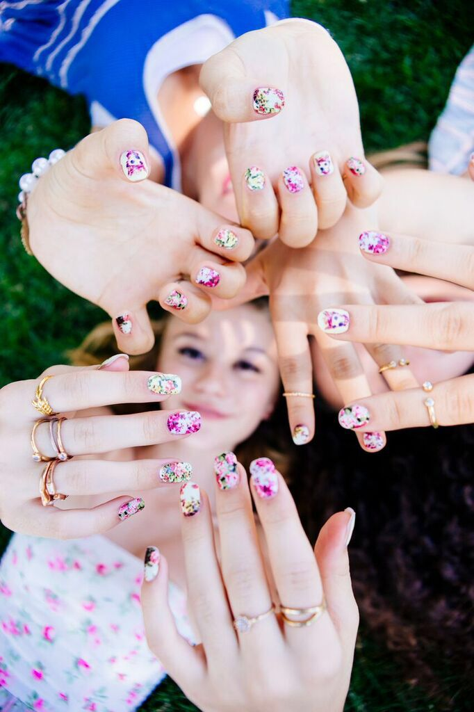 Summer Tuesdays call for a group of friends and floral nail wraps ...
