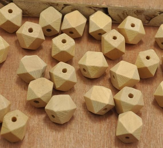 50pcs 14mm Round Wood Wooden Beads Big Hole 3.5mm For Jewelry Making