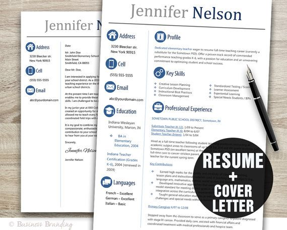 Teacher Resume Template Word \/ Cover Letter Template \/ Instant - cover letter for teachers resume