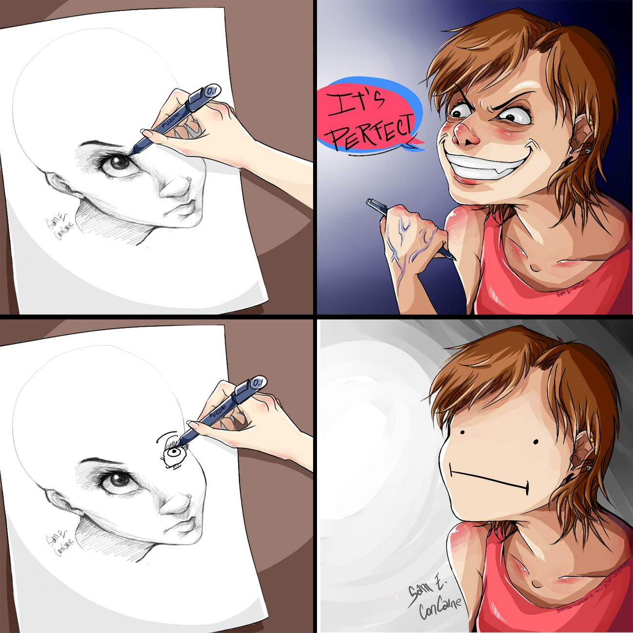 Drawing Two Eyes Never Had Been So Hard By Samevilconcarne Deviantart Com On Deviantart Artist Memes Funny Comics Funny Pictures