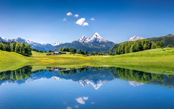 Download Wallpapers Alps Europe 4k Alpine Lake Switzerland Mountains Besthqwallpapers Com Paisaje De Montana Paisaje Verano Playas Paradisiacas