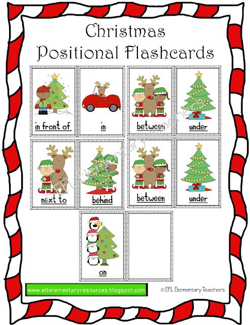Esl Christmas Activities Printable Flash Cards Elementary Teacher Position Words