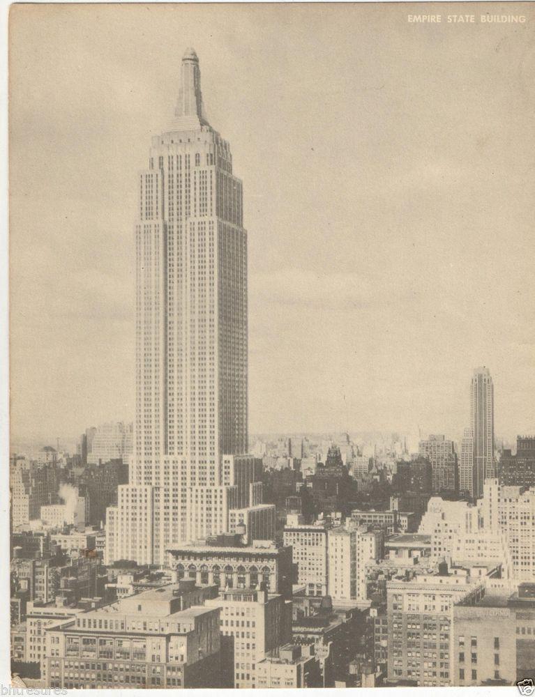 "Old 1950's Empire State Building New York City 7""x 9"" Jumbo Postcard, Unused! http://stores.ebay.com/bhtresures-internet-store"