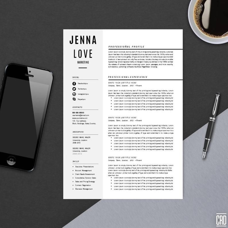 Resume Template with Cover Letter CV Template MS Word
