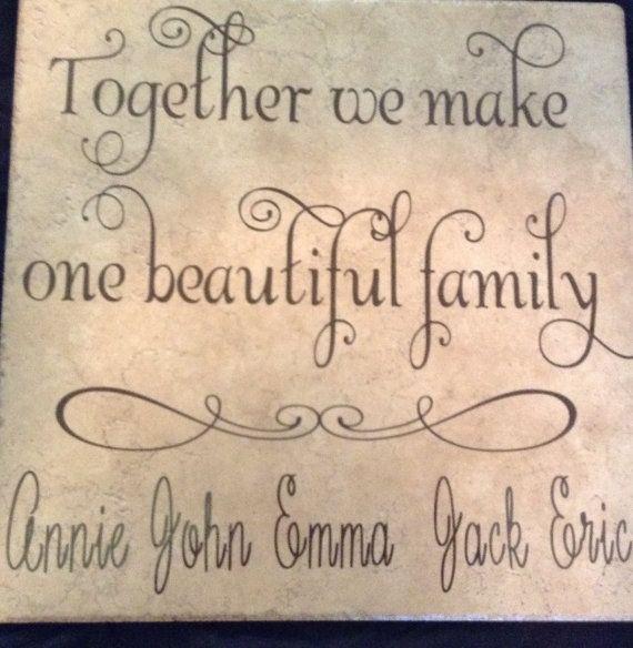 Blended family sign, Christmas gift for family, Together