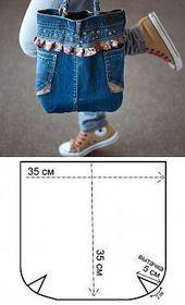 Bolso con jeans viejos ~ Cómo coser instrucciones gratis para principiantes ……