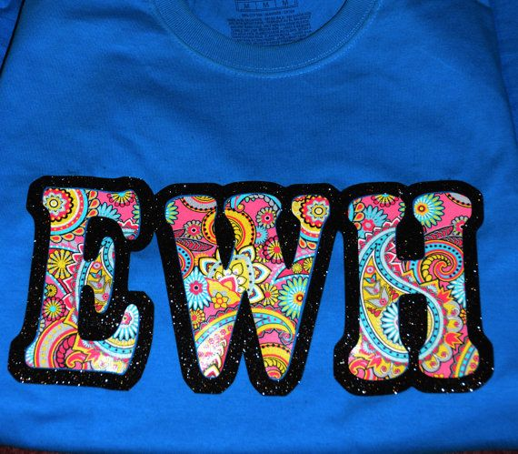 Heat Transfer Vinyl Lettering Shirt Design Size Is 12 X 6 Paisley Print Letters With Black Glitter Outlin Vinyl Lettering Paisley Print Heat Transfer Vinyl