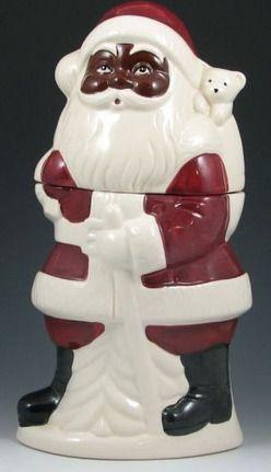 Cookie Jar; Metlox Pottery, Santa Claus, African American ...