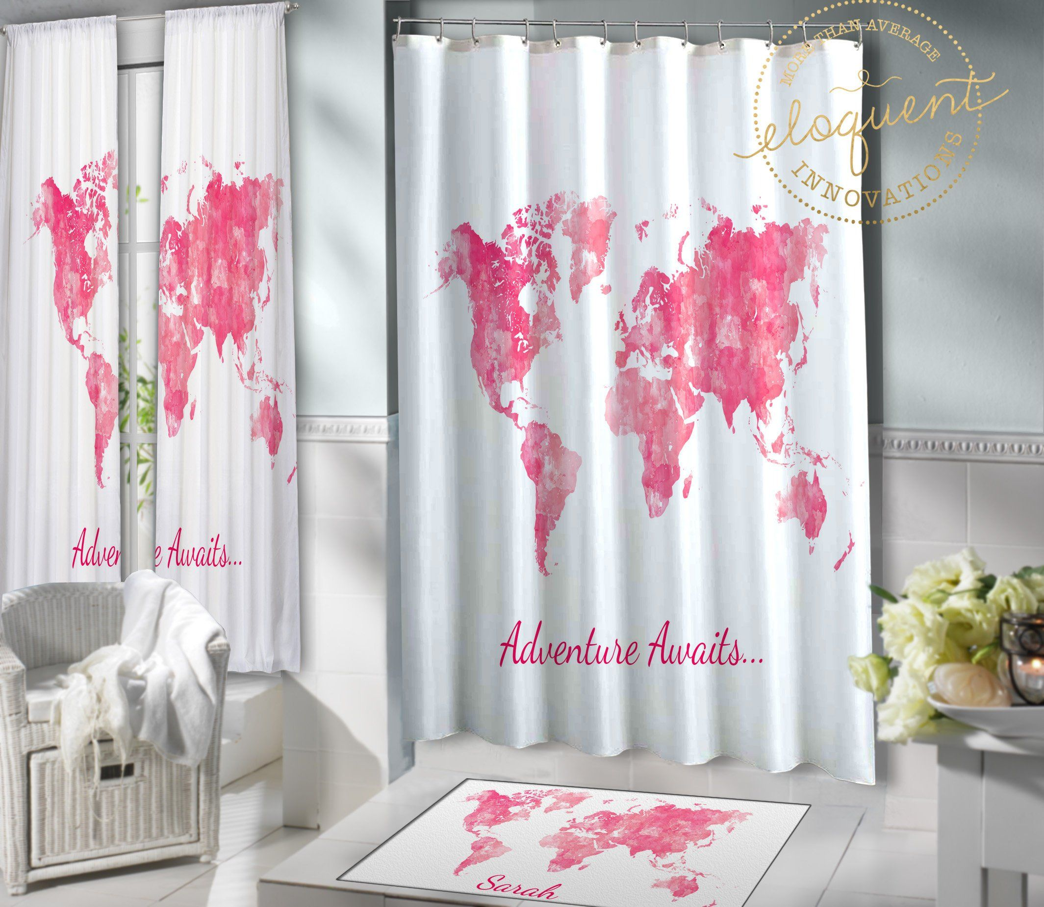 World Map Shower Curtain - Fabric - Can be Personalized with ...