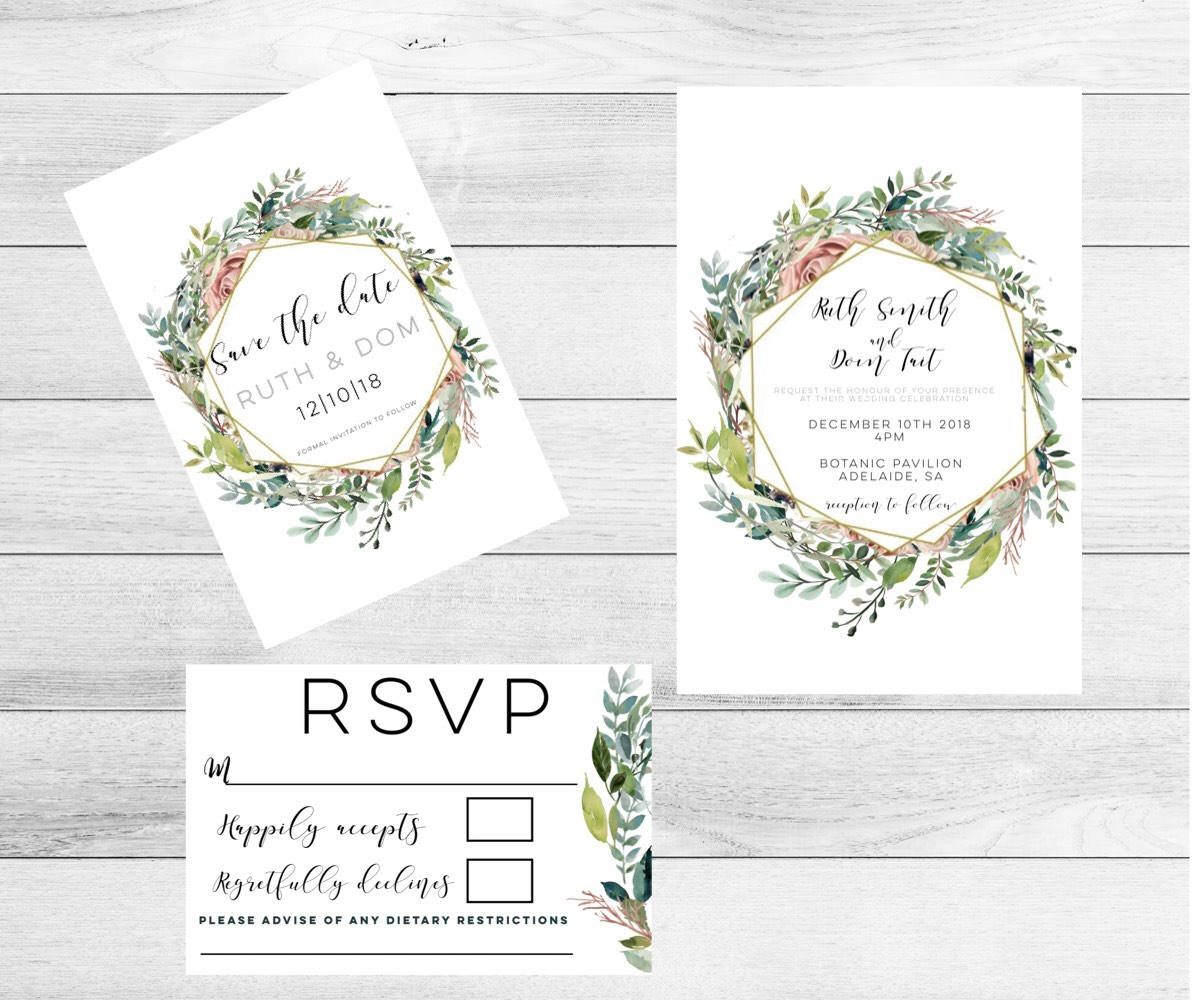 Botanical Wedding Invitations Wedding Invitation Set Botanical
