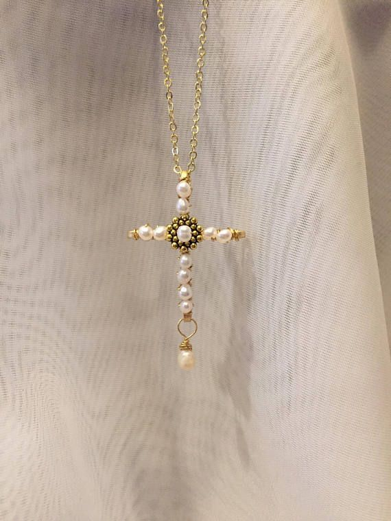Pearl cross cross pendant pearl cross necklace wire wrapped cross pearl cross cross pendant pearl cross necklace wire wrapped cross pearl necklace gold cross june birthstone beaded crucifix wedding necklace collares aloadofball Gallery