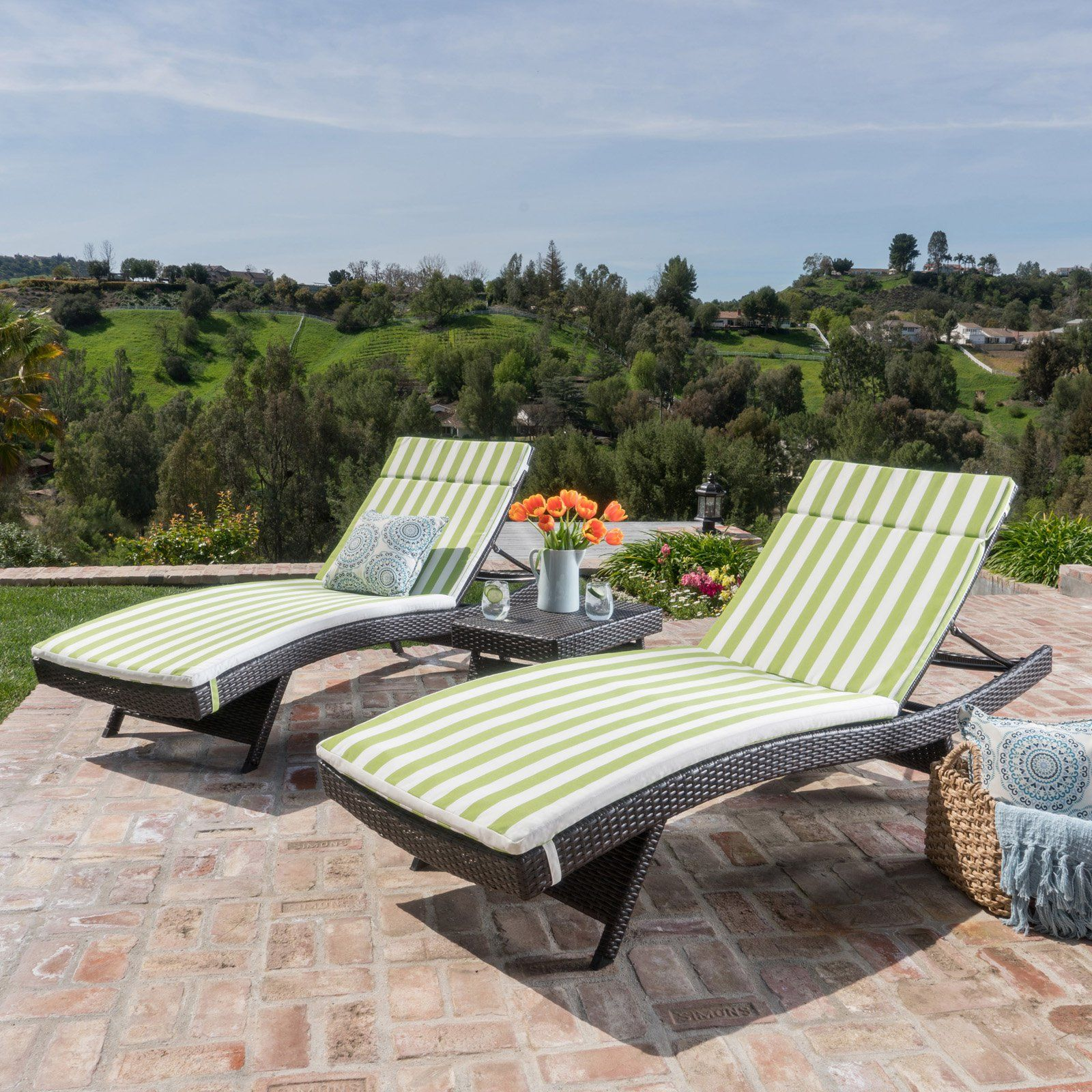 Salem Outdoor Wicker Chaise Lounge Set With Cushions Jungle Green In