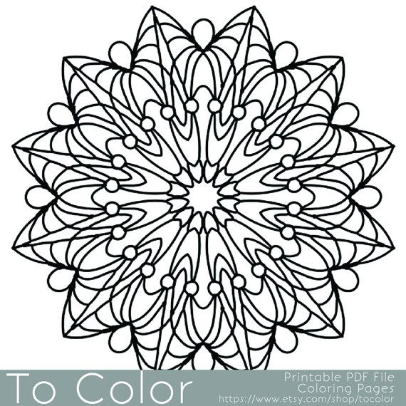 Simple Printable Coloring Pages For Adults Gel Pens Mandala Pattern PDF JPG