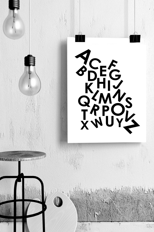 A-Z Print By Soouk, A4, Monochrome | BHS