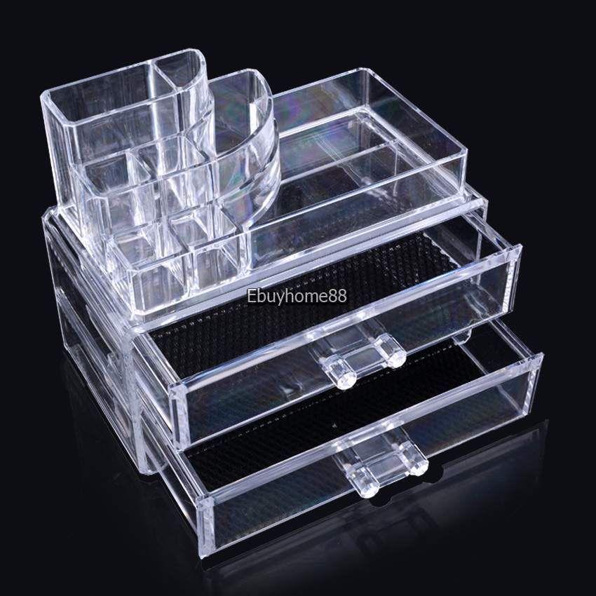 Cosmetic Organizer Holder Drawers Jewelry Storage Box Clear Acrylic