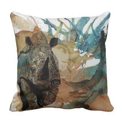 Colourful African Animal Cushion Charging Rhino Throw Pillow