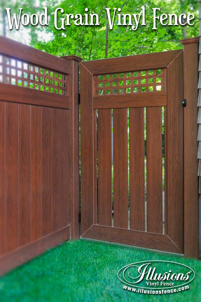 Both Security And Function With Rosewood Illusions Pvc Vinyl Privacy Fencing Panels And Semi Privacy Ga Backyard Fence Decor Wood Grain Vinyl Fence Vinyl Fence