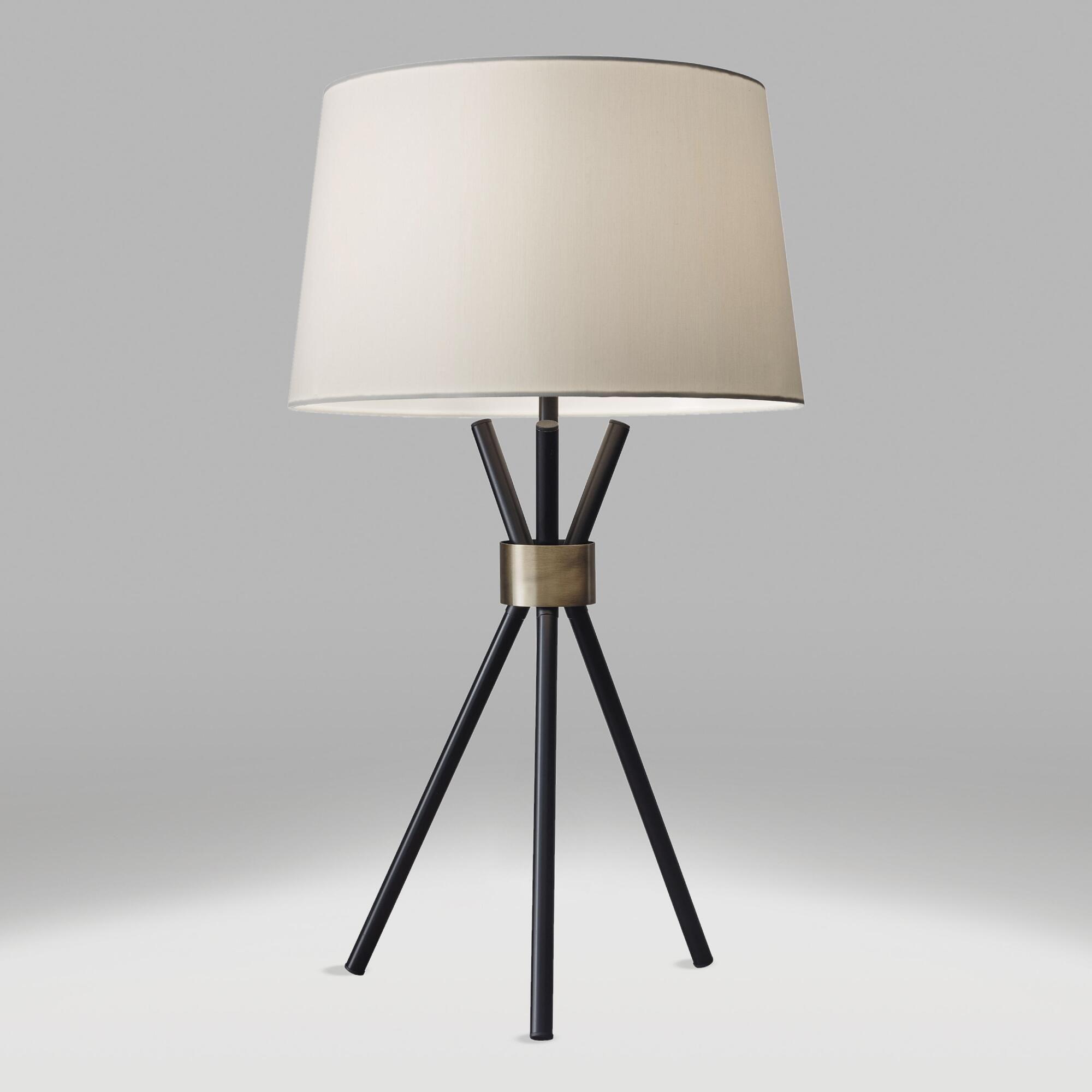 Black and Brass Tripod Kurt Table Lamp Black/Metallic by