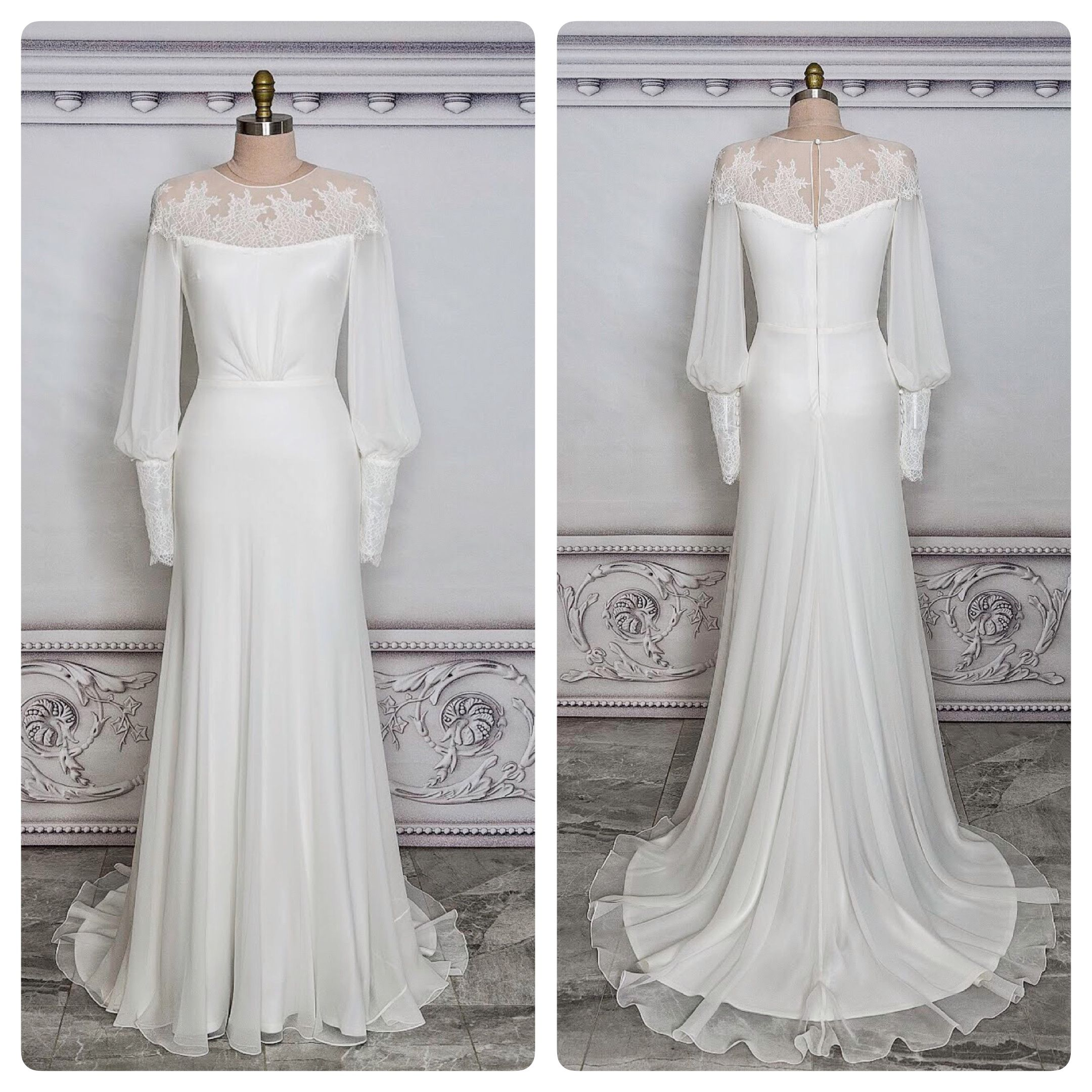 The Shire Shoulder Yoke With Delicate Chantilly Lace Applique Soft Front Bodice Vintage Wedding Dress Romantic Long Sleeve Wedding Gowns Bridal Gown Bohemian [ 2160 x 2160 Pixel ]