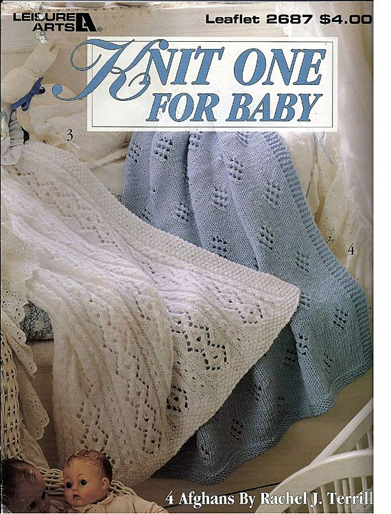 8fa55e8ce Knit One for Baby Blanket Knit Pattern Book Leisure Arts Leaflet ...