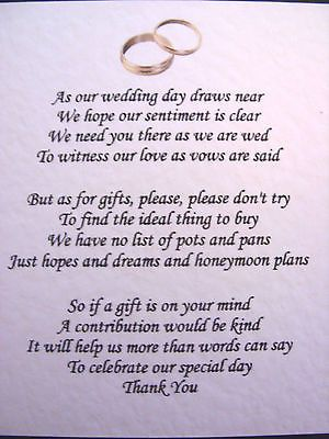20 Wedding poems asking for money gifts not presents Ref No 4 ...
