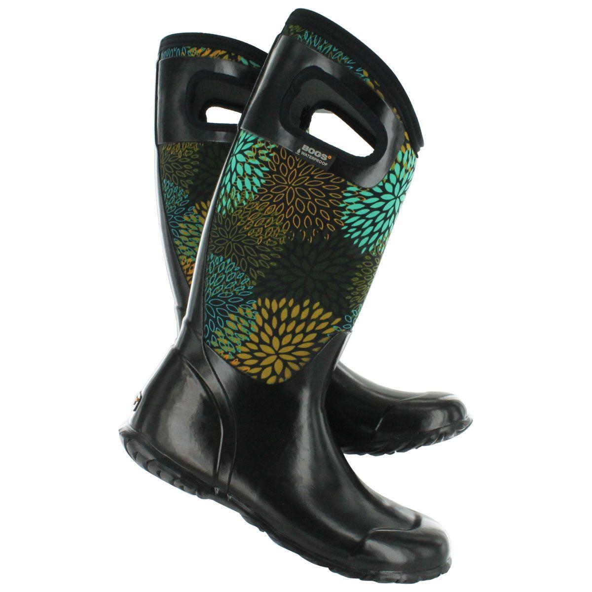 Bogs Women's NORTH HAMPTON FLORAL blk waterproof boots 71551-BLK