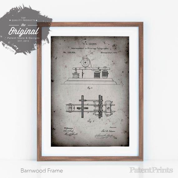 Edison Printing Telegraph Patent Art, Edison Art, Telegraph, Industrial Decor, PP0799 #doctoroffice