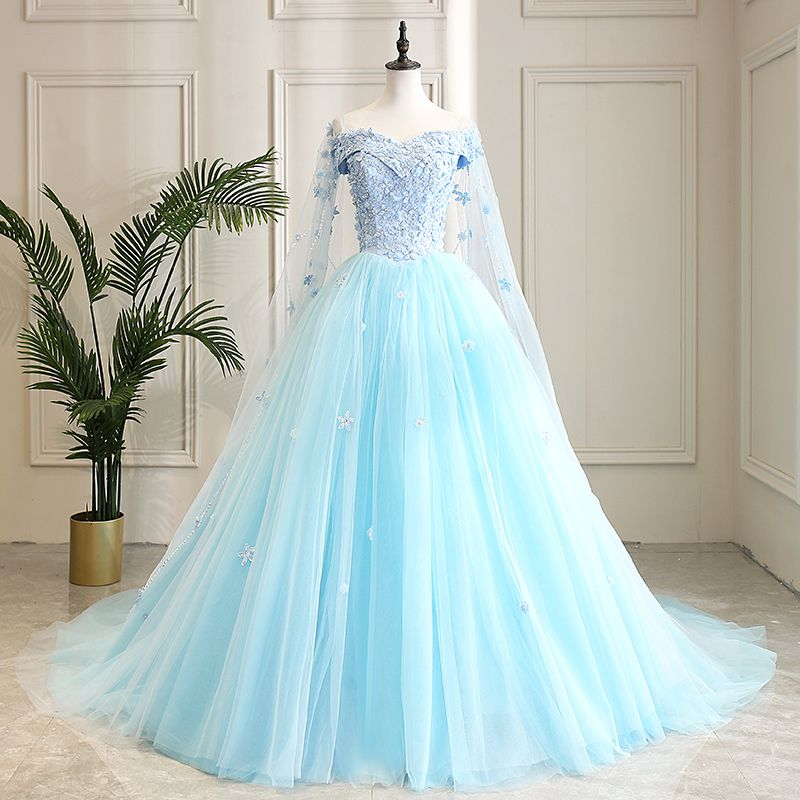 Ball Gown Long Sleeve Beaded Crystal Applique Watteau: Modern / Fashion Pool Blue Prom Dresses 2019 A-Line