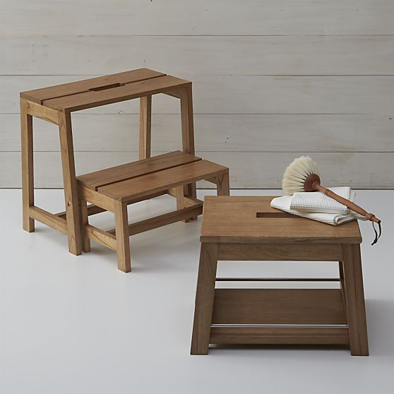 Wooden 2 Step Stool In Utility Crate And Barrel Wooden