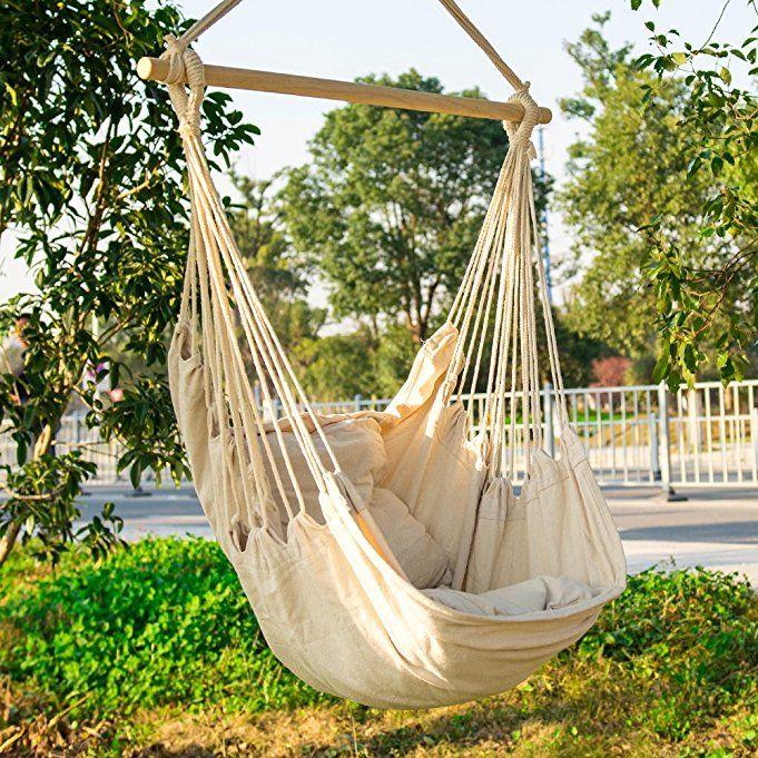 Amazon Com Cctro Hanging Rope Hammock Chair Swing Seat Large Brazilian Hammock Net