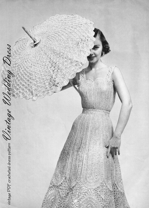 PDF Pattern 50s Vintage Crocheted Wedding DRESS by KinsieWoolShop ...