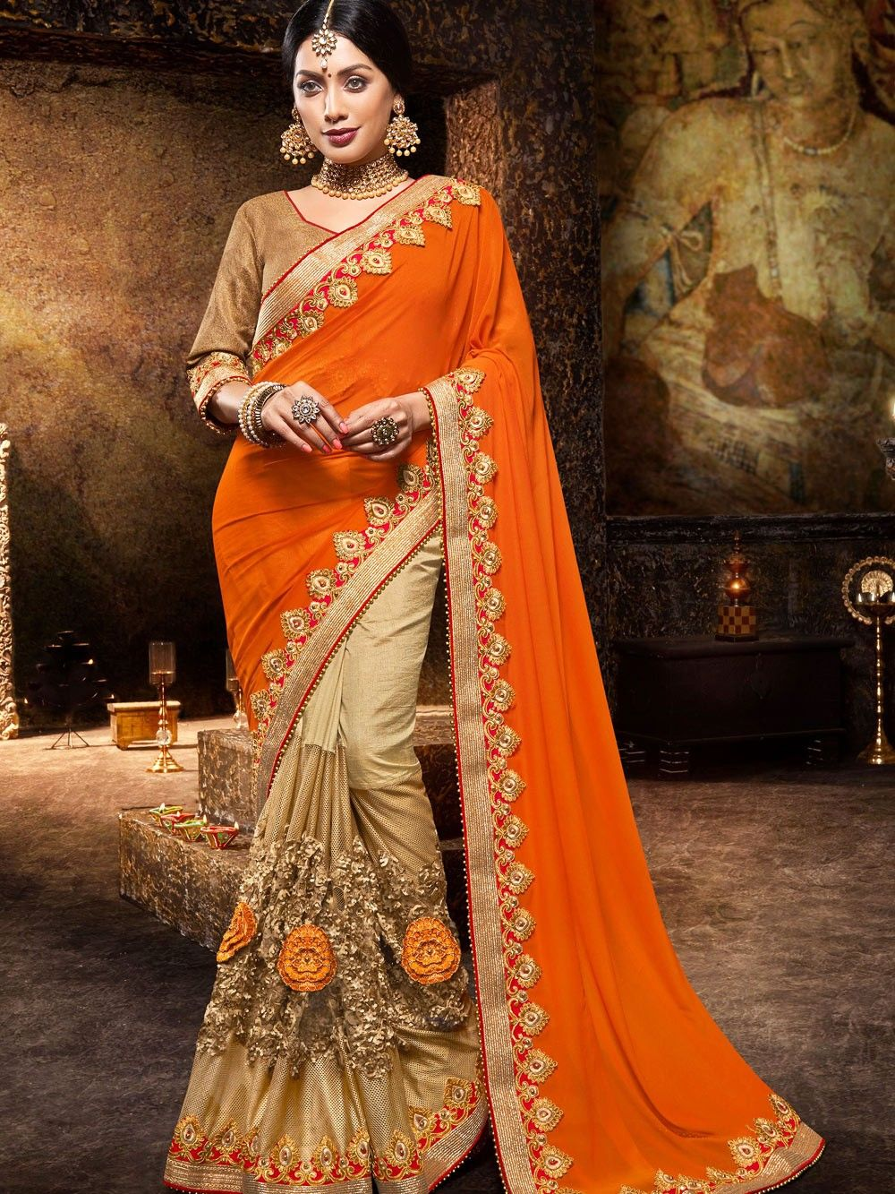 Heavy ART Silk Saree Bridal Christmas Gift Occasional Wear Party Wedding Sari Wear with Running Blouse CC1