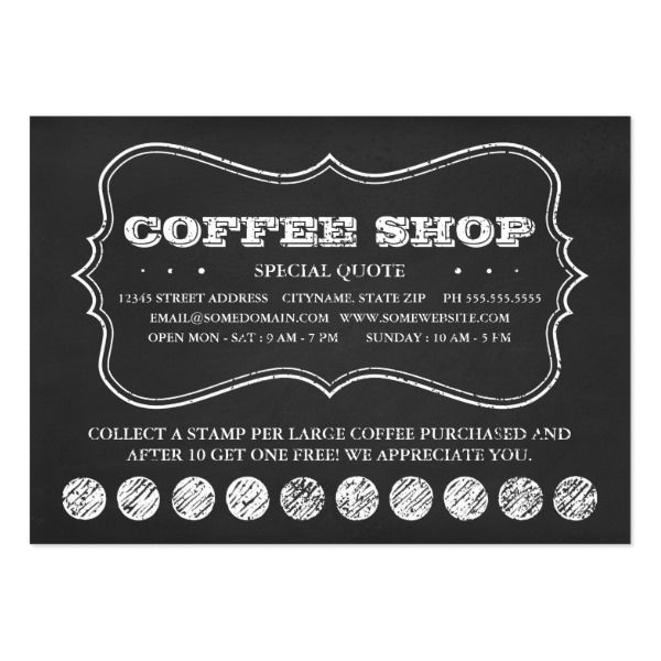 Custom Coffee Themed Gifts Profilecard Identica Chalk Art By Asyrum Loyalty Card Template Free Business Card Templates Customer Loyalty Cards