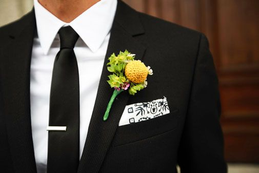 Creative pocket swatch and boutonnière