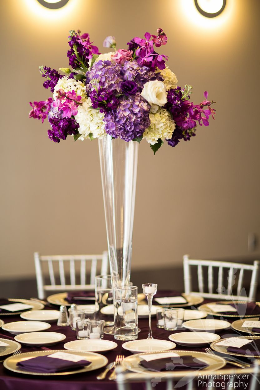 Photo Anna Spencer Space The Ballroom At Twelve Atlanta Ga Chairs Sweet Seats Beautiful Wedding Decorations Lavender Centerpieces Plum Purple Wedding