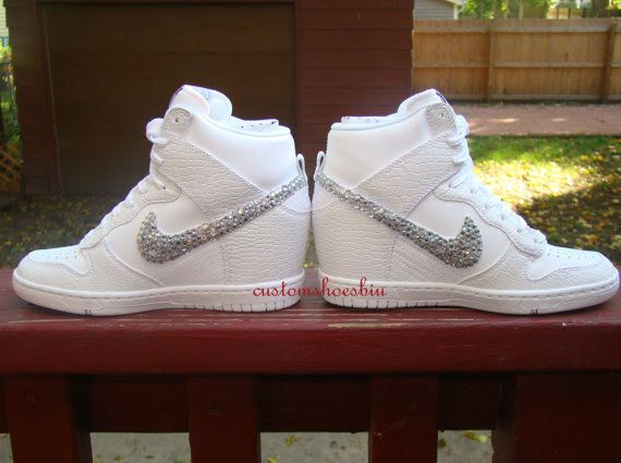 a14bc1a638f 11510 471ba  free shipping white croc snakeskin dunks sky high nikeskyhi wedges  sneakers wedding weddingshoes shoes 707aa d502d