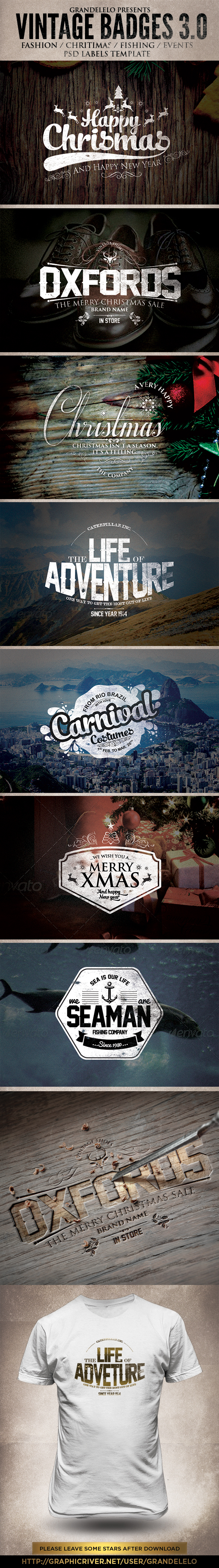 Christmas / Vintage / Badges 3.0 on Behance | Cool poster ...