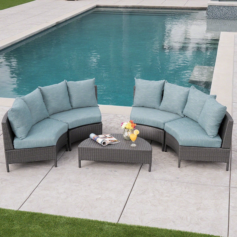 Best Amazon Com Nessett Outdoor 5 Piece Grey Wicker Sectional Sofa Set With Teal Water Resistant 400 x 300