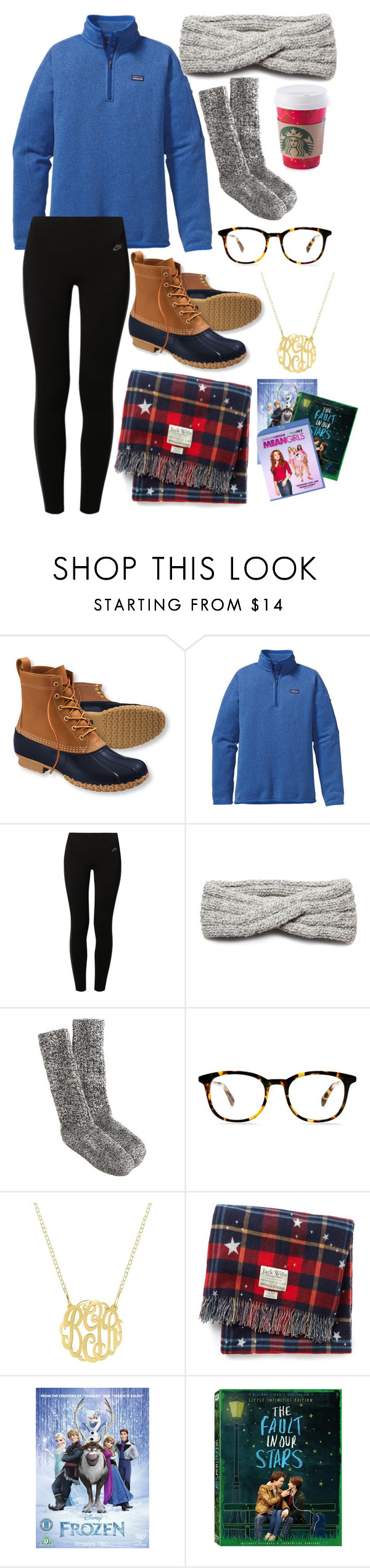 """First Snow Day of the Year!"" by lalalanie ❤ liked on Polyvore featuring L.L.Bean, Patagonia, NIKE, NIC+ZOE, J.Crew, Jack Wills and Disney"
