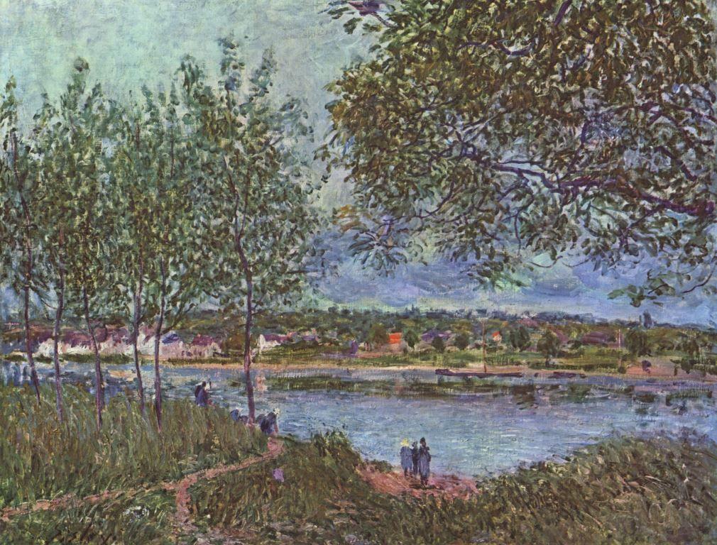 Landschaftsmalerei impressionismus  Alfred Sisley. Weg der alten Fähre in By. 1880, Öl auf Leinwand, 45 ...