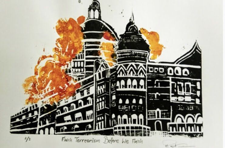 The Artwork Refers To The 26 11 Attack On Mumbai India The