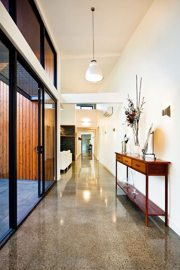 Contemporary hall glossy polished concrete floor