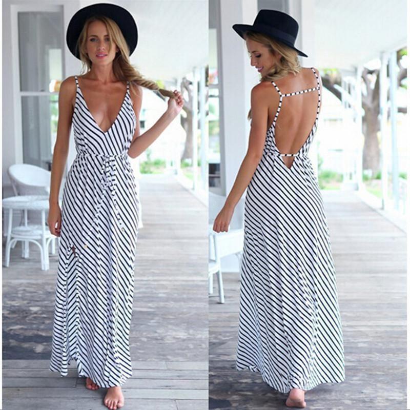 66fbc3c3ab Summer Dress Sexy Casual Boho Beach Long Dress Black White Striped V-neck  Halter Strap Maxi Dress Women Dresses Vestidos