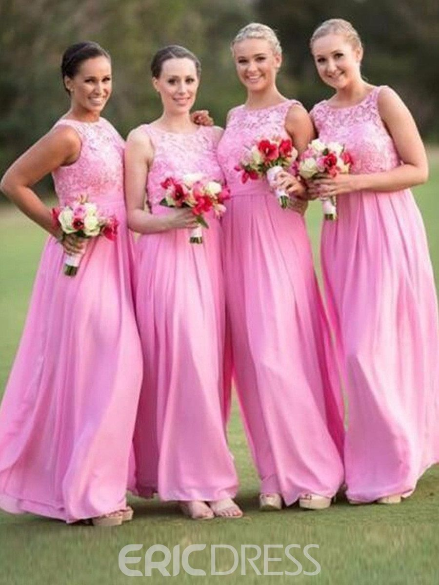 Beautiful A Line Scoop Long Lace Bridesmaid Dress | Lace bridesmaids ...