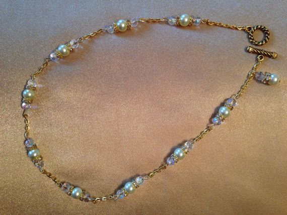 Petite Gold Wedding Necklace with Pearls by JewelrySimplyCharmed