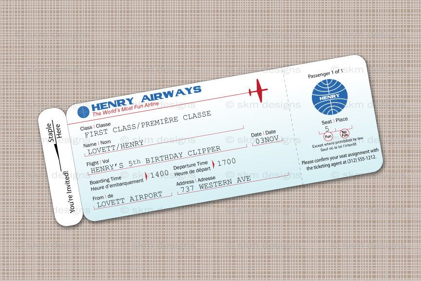 Printable Airplane Birthday Party Airline Ticket by PartyPooped - fake airline ticket maker