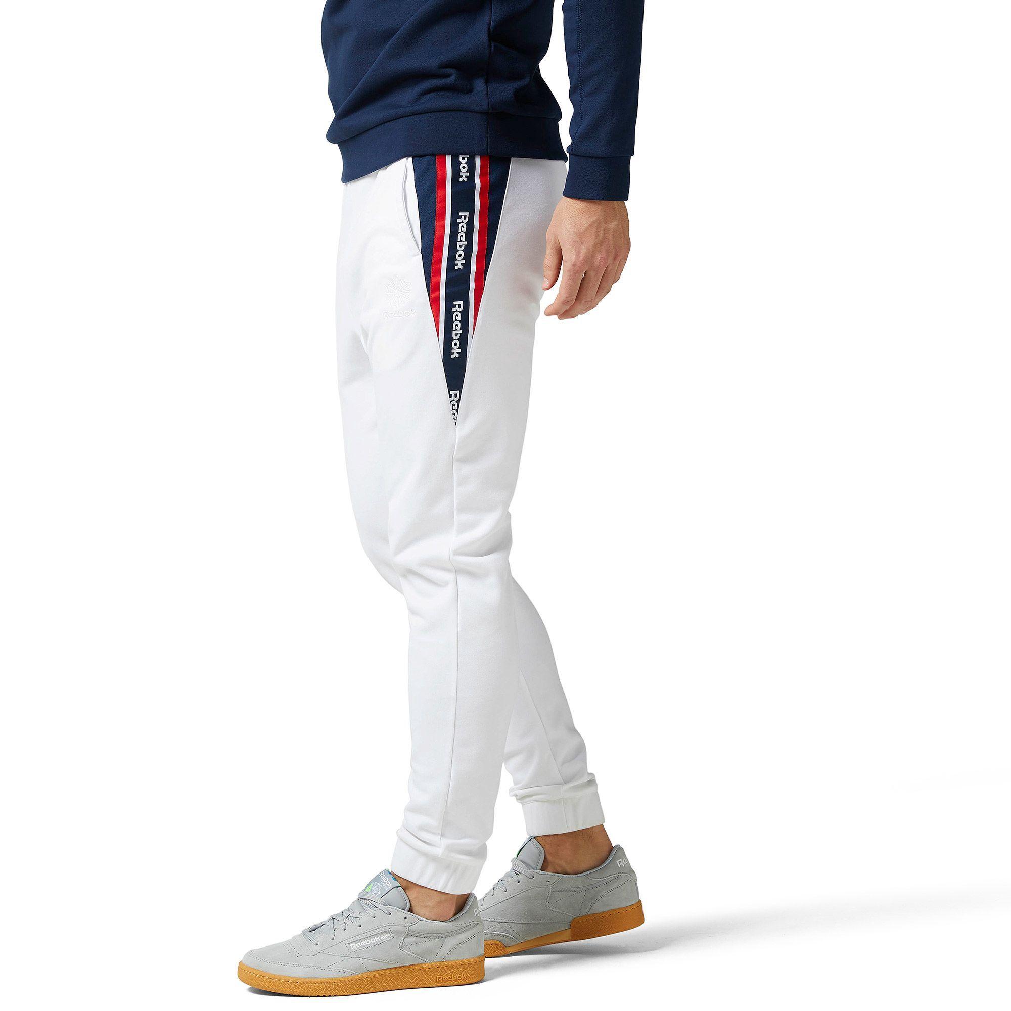 reebok white track pants