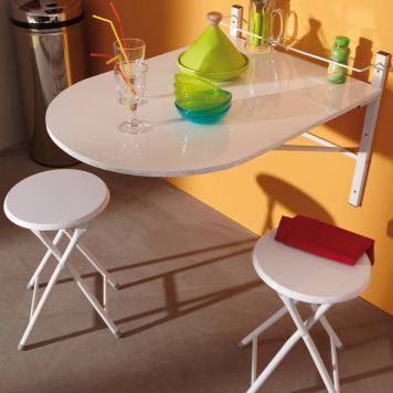 Klapptisch Letitia - Mit 2 Hockern - Weiß Kleine Küchen - klapptisch für küche
